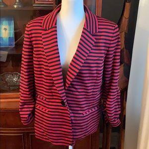 Nine West Red black striped blazer *Final Price*